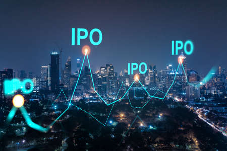 Initial public offering hologram, night panoramic city view of Bangkok. The financial center for multinational corporations in Asia. The concept of boosting the growth by IPO process. Double exposure. Banque d'images