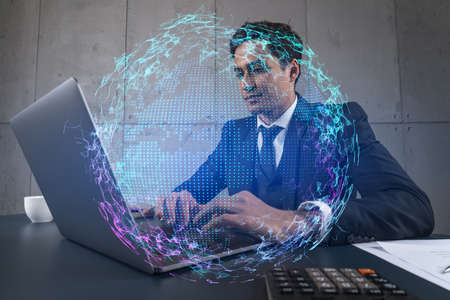 Businessman in office working with laptop, world map planet earth hologram, typing computer. Double exposure.