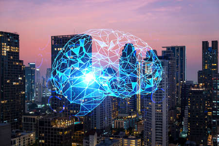 Glowing human brain hologram, aerial panoramic cityscape of Bangkok at sunset. The center of business education in Asia. Double exposure.