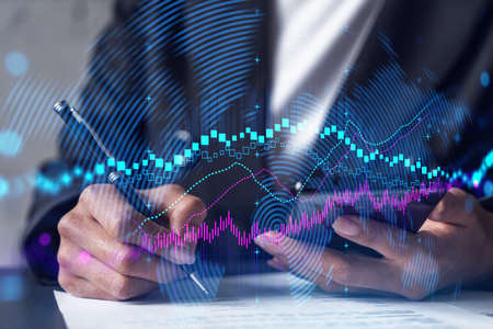 Forex chart drawing and a woman signing contract use phone. Multiexposure. Financial analysis concept.