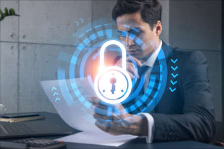 Man in office think and dream datum financial security lock drawing concept. Double exposure. Stockfoto