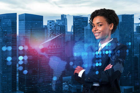 Smiling black woman HR director at international company is thinking about recruitment of highly qualified specialists. Women in business concept. Social media hologram icons over Singapore. 版權商用圖片