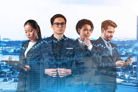 Group of business colleagues working on new venture capital and hi-tech start up and try to forecast risks and estimate prospective earning growth. Hologram chart on Singapore background.