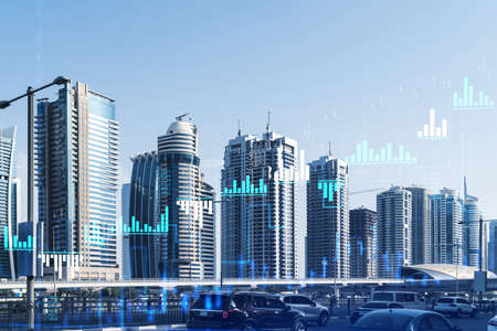 Cityscape skyscrapers of downtown, UAE. Modern skyline of the capital of the Emirate of Dubai. Center of international trading of Western Asia. Traffic. FOREX graph and chart concept. Double exposure