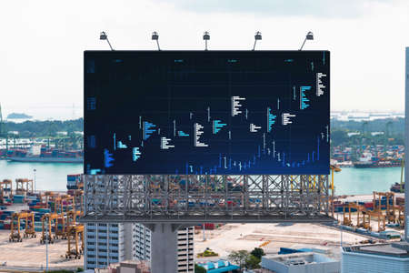 Forex and stock market chart hologram on road billboard over panorama city view of Singapore. The financial center in Southeast Asia. The concept of international trading.