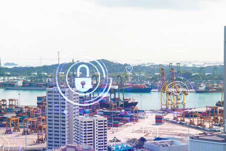 Padlock icon hologram over panorama city view of Singapore to protect business in Asia. The concept of information security shields. Double exposure.