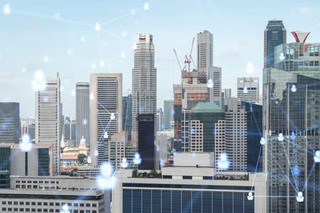 Social media icons hologram over panorama city view of Singapore, Asia. The concept of people networking, connections and career opportunities. Double exposure.
