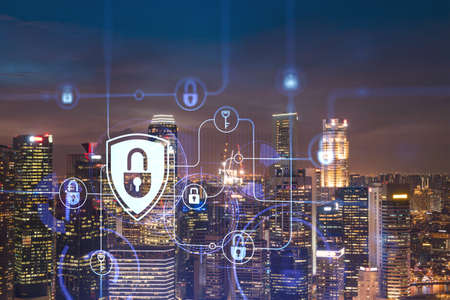 Glowing padlock hologram, night panoramic city view of Singapore, Asia. The concept of cyber security to protect companies. Double exposure.