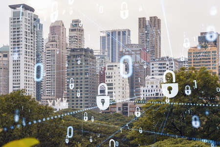 Padlock icon hologram over panorama city view of Bangkok to protect business in Southeast Asia. The concept of information security shields. Double exposure. Stock fotó