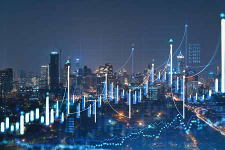 FOREX graph hologram, aerial night panoramic cityscape of Bangkok, the developed location for stock market researchers in Southeast Asia. The concept of fundamental analysis. Double exposure.