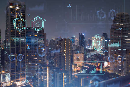 Information flow hologram, night panorama city view of Bangkok. The largest technological center in Southeast Asia. The concept of programming science. Double exposure.