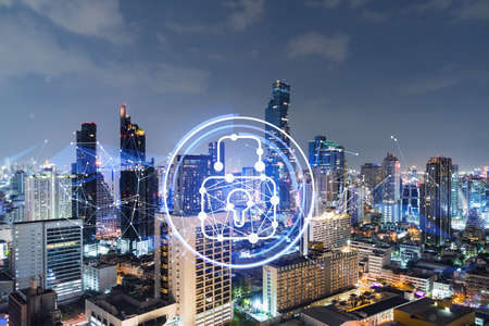 Glowing Padlock hologram, night panoramic city view of Bangkok, Southeast Asia. The concept of cyber security to protect companies. Double exposure.