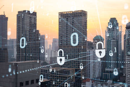 Hologram of Padlock on sunset panoramic cityscape of Bangkok, Southeast Asia. The concept of cyber security intelligence. Multi exposure.