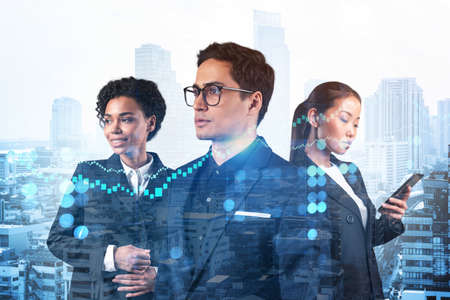 Group of business colleagues in suits as a part of multinational corporate team working on forecasting trading corporate strategy at fund. Forex chart. Bangkok on background. Double exposure