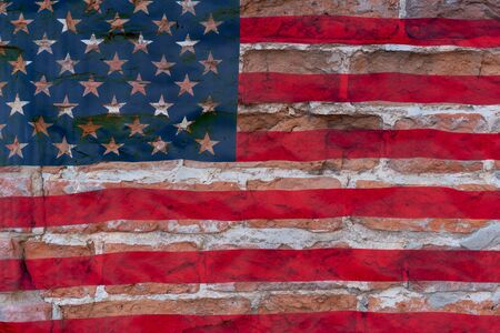 Brown brick wall on american flag