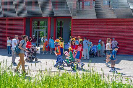 Children have fun in the park. Animators hare entertains children in the park on a sunny clear day. Russia, Tatarstan, May 31, 2019. Redakční