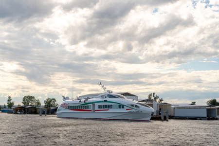 Large modern boat on the water against the backdrop of beautiful clouds. Russia, Tatarstan, July 25, 2020 Reklamní fotografie