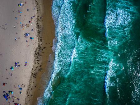 Waves and beach, drone, Mission Beach California