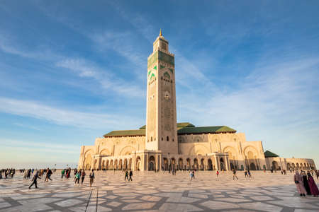 Casablanca, Morocco - December 14, 2019: Architectural details of Mosque Hassan II at sunset Editorial