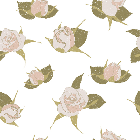 Pastel roses vector seamless pattern. Isolated on white.