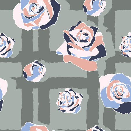 Roses vector seamless pattern Ilustrace