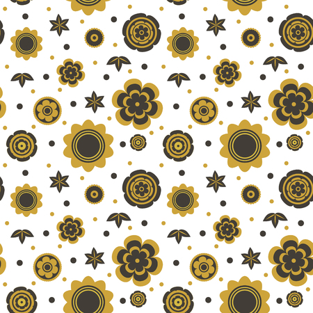 Flowers seamless  vector pattern. Isolated on white.