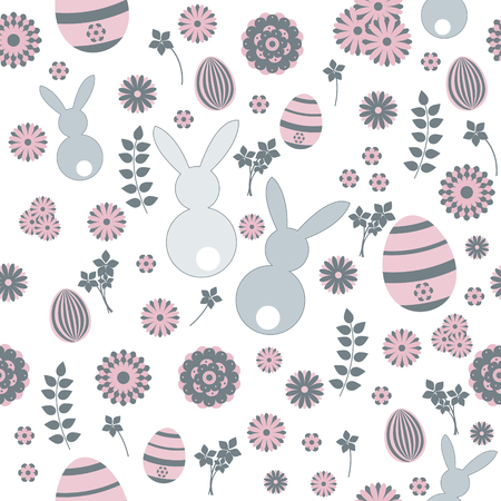 Easter seamless pattern pink and grey. Isolated on white. Vector.