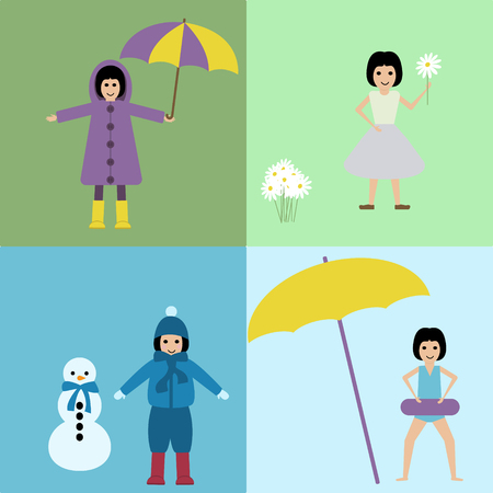 Vector illustration girl in a four seasons