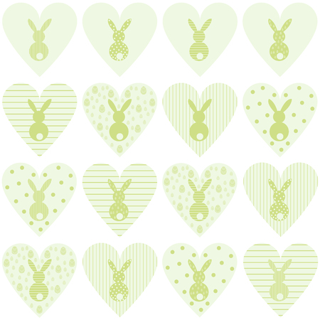 Vector set of green hearts with bunnies