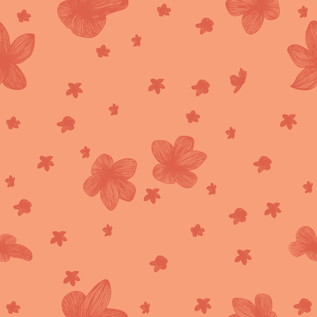 Line flowers seamless  vector pattern Ilustrace