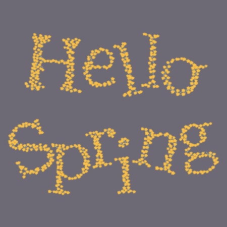 Hello spring flowers letters vector background