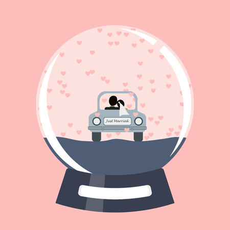 Vector snow globe with just married couple in a car.