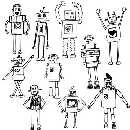 10 hand drawn robots vector isolated on white.