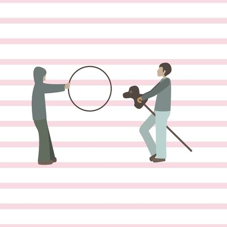 Girl with hula hoop and boy with horse stick. Flat vector illustration with line seamless background.