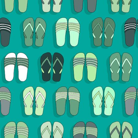 Green colored flip flops vector seamless pattern