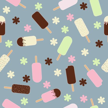 Flat illustration ice creams with flowers and blue background seamless pattern Иллюстрация