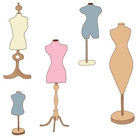 Mannequins vector flat illustration Illustration