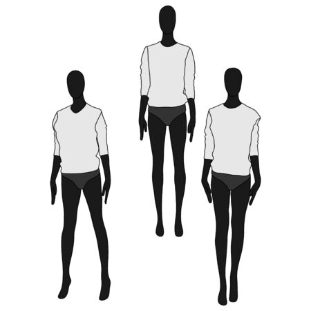 Female clothing mannequins. Black and white vector illustration isolated on white.