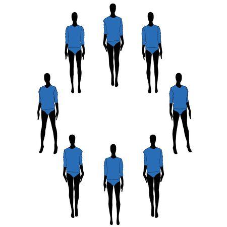 Woman mannequins vector flat illustration
