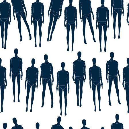 Mannequins vector silhouettes seamless pattern isolated on white.