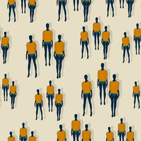 Slim female clothing mannequins vector seamless pattern.