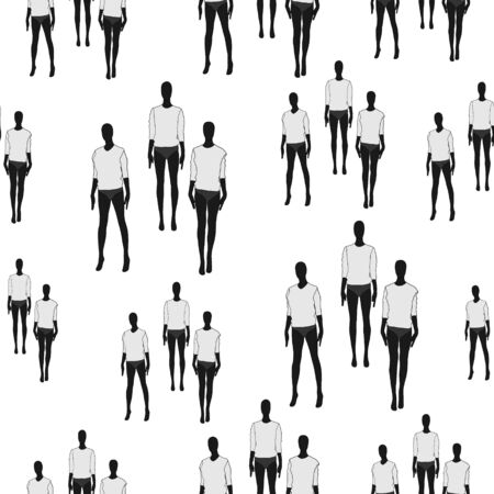 Female clothing mannequins. Black and white vector seamless pattern isolated on white. Illustration
