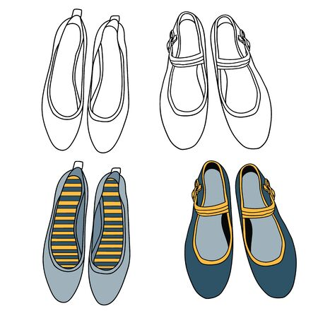 Flat shoe vector illustration outlined and colored.