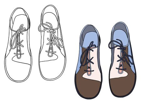 Vector illustration outlined and colored shoes Stock Illustratie