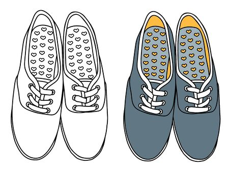 Sneakers vector illustration outlined and colored Stock Illustratie