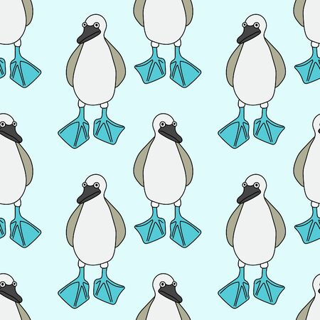 Blue-footed booby vector seamless pattern Illustration