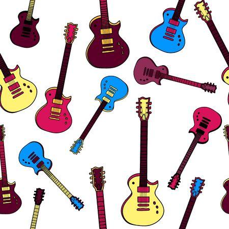 Colorful flat illustration guitars seamless pattern. Isolated. Stock Illustratie