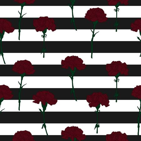 Dark red carnation flowers on a black striped background seamless pattern