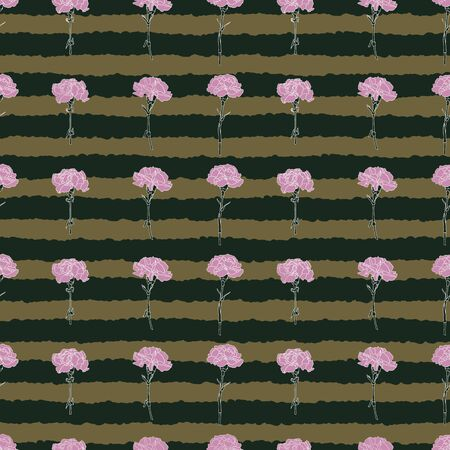 Pink carnations with a gold and green background seamless pattern Illustration