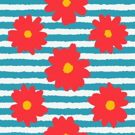 Cute red flowers on a blue and white stripe background seamless pattern